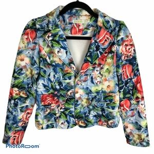 Carlfit Floral Cropped Blue/ Tailored Jacket XXS